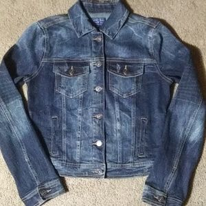 JUSTUSA Distressed Dark Washed Jean Jacket